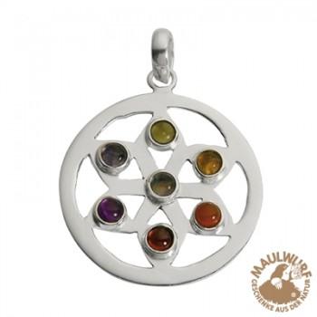 Anhänger Chakra-Rad, Silber, ca. 4cm