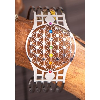 Blume des Lebens Armreif mit 7 Chakra Kristallen