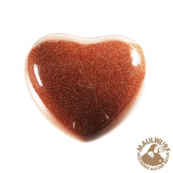 Herz bauchig, Goldfluß braun (synth.) , 4,5cm