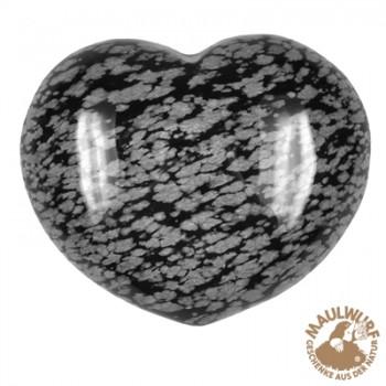 Herz bauchig, Obsidian (Schneeflocke) , 4,5cm