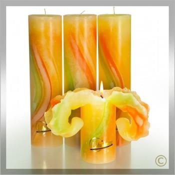 Kerze, Aquarell 28 cm Frühlings Töne (VPE: 3 Stück)