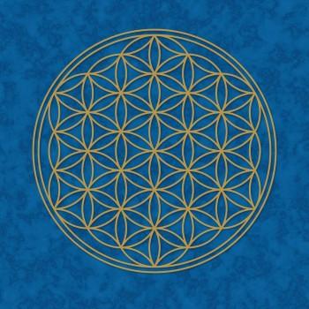 Poster, Blume des Lebens, blau