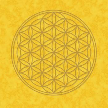 Poster, Blume des Lebens, gelb