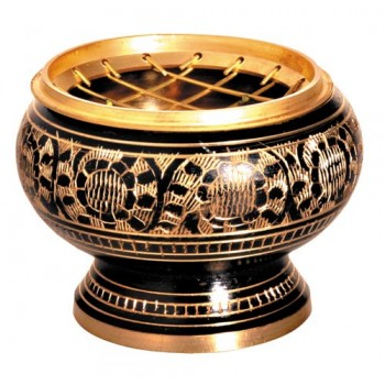Räuchergefäß - Messing schwarz/gold (VPE: 2 Stück)