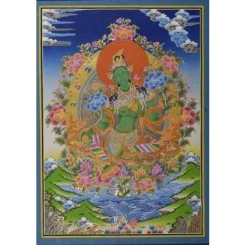 Thangka Grüne Tara, ca. 70 x 50 cm