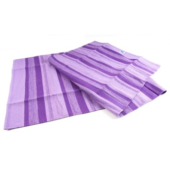 Yogamatte aus Baumwolle lila gestreift