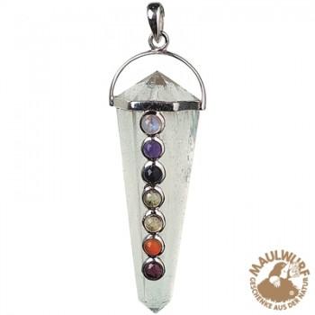 Anhänger Chakra-Kristall, Messing versilbert mit 7 Edelsteinen, ca. 5cm