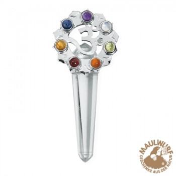 Anhänger Chakra-Kristall mit Om-Symbol, ca. 5,5cm , Silber