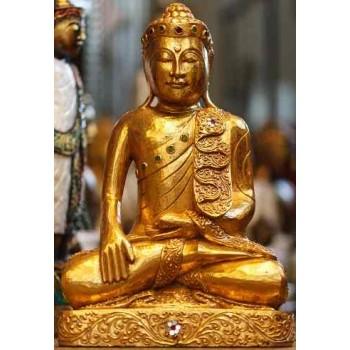 Holz-Buddha sitzend mit Blattgold belegt Höhe ca. 60 cm