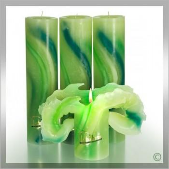 Kerze, Aquarell 28 cm grün (VPE: 3 Stück)