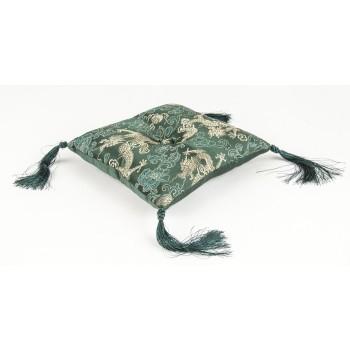 Klangschalenkissen Brokat groß grün