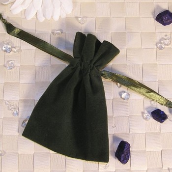 Samtbeutel, olivgrün, 9 x 12 cm 20 Stück