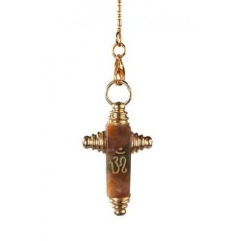 Symbolpendel, Jaspis Kreuzform mit OM-Zeichen