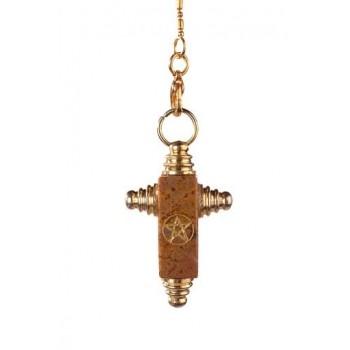 Symbolpendel, Jaspis Kreuzform mit Pentagramm