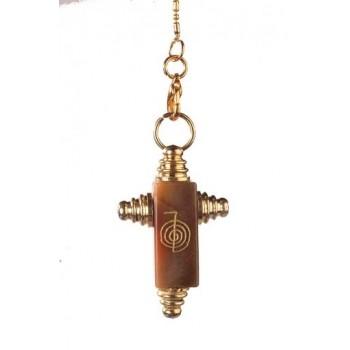 Symbolpendel, Jaspis Kreuzform mit Reikizeichen