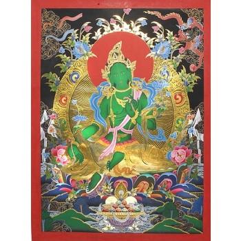 Thangka Grüne Tara, 80 x 59 cm