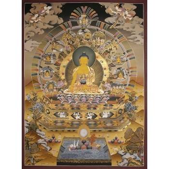 Thangka Shakyamuni Buddha, gerahmt ca. 112 x 81 cm