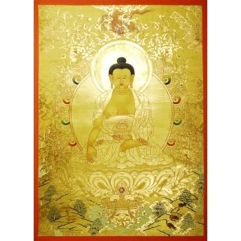 Thangka Shakyamuni Buddha Gold, ca. 81 x 57 cm