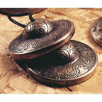 Tibetische Zimbel, Graviert, Drachen-Motiv